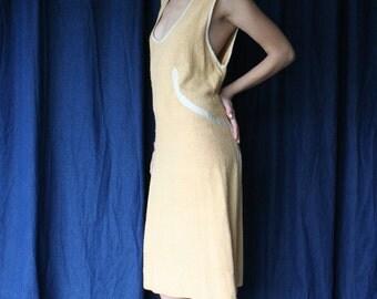 Vintage 1920's Tennis Dress / Knubby Silk+Cotton Athletic Lawn Dress / Great Gatsby era / Charleston Flapper Time / Garden Party Dress /