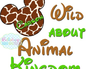 Wild about Animal Kingdom - Giraffe Mickey Safari IRON ON TRANSFER - Tshirt - Bodysuit - Tote Bags - Personalized - Disney