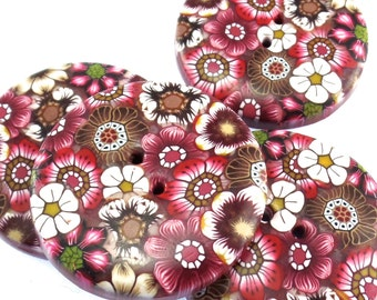 1 Large Colorful Handmade Polymer Clay Button, 1 1/4 inch, Flower Design