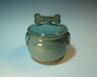 Large Aqua Treat Jar with Dog Biscuit Bone Knob and Handles