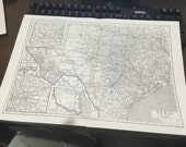 Circa 1910 Texas State Map . Great for framing! Free shipping. 11x17 paper image.