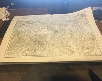Circa 1910 Maryland Deleware State Map . Great for framing! Free shipping. 11x17 paper image.