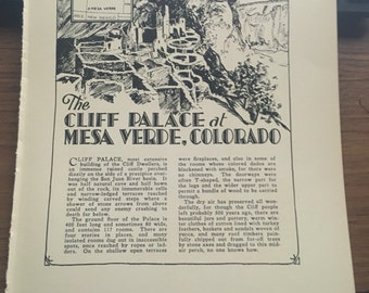 The Cliff Palace at Mesa Verde, Colorado 1933 book page art frameable print