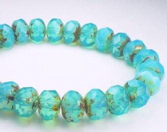 Aqua Blue Picasso Czech Glass Beads 6 x 8mm Faceted Rondelle Beads 10 Pcs. RON8-2592