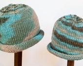 Child Adult Hat Rolled Brim Beanie Size SMALL 1 to 6 Months Color:  SEA TAUPE