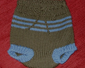 Hand knit diaper cover in moss green and blue 100 % Wool