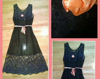 1930s or 40s Sheer Navy Blue Dress with Pink Flower and Belt by Oppenheim, Collins, & Co.