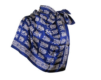 Large Asian Silk Chinese Character Print Silk Scarf Navy Blue & Cream