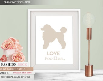 LOVE POODLES - Art Print (Featured in French Grey) Love Animals Art Print and Poster Collection