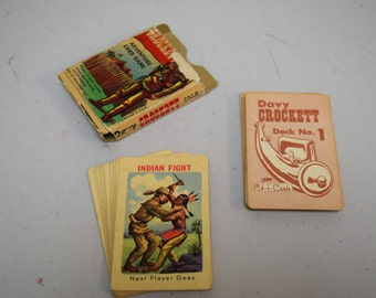 VINTAGE Davy Crockett Adventure Card Game Deck 1 & 2 --36 Cards by Ed-u-cards