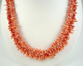Coral Necklace Peach Coral Necklace Bamboo Coral Necklace Salmon Coral Necklace Coral Cupolini Necklace Double Strand Coral Necklace