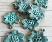 metal flower , SAKURA flower pendant , verdigris patina 2 pcs
