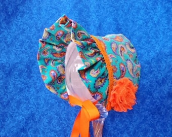Winter Baby Bonnet Teal Green Paisley Corduroy and Fleece Lined