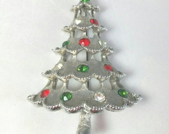 Christmas Tree Brooch Silver Metal Red, Green, Clear Rhinestones Unsigned