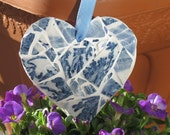 Shabby chic mosaic heart made from vintage crockery