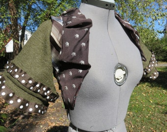 Tie brown elephant bolero SMALL bellydance, steampunk, burningman, cosplay