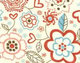 Giddy fabric Sandy Gervais Moda red/pink/aqua hearts/flowers