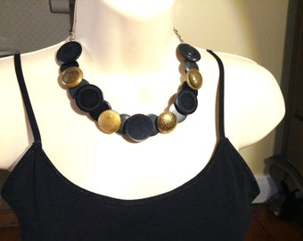 Contrasting Contemporary  button necklace