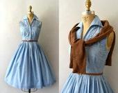 1950s Vintage Dress - 50s Embroidered Blue Cotton Sundress
