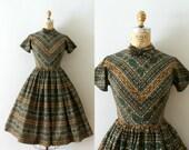 RESERVED LISTING -- 1950s Vintage Dress - 50s Floral & Striped Cotton Day Dress - Desert Song
