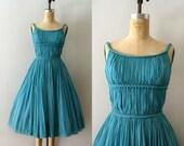 RESERVED LISTING -- Vintage 1950s Dress - 50s Aqua Blue Silk Chiffon Grecian Dress