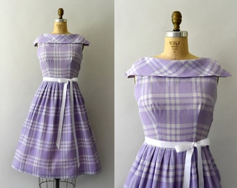 RESERVED LISTING -- Vintage 1950s Dress - 50s Lilac Check Sundress