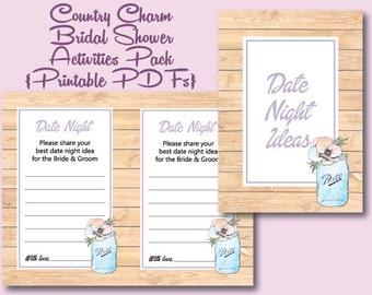 Country Charm Bridal Shower 2 Printables | Activities | Games | PDF | Mason Jars | Watercolor | Rustic | Boho | Bride and Groom