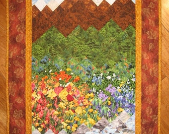 Mountain Flowers Art Quilt Fabric Wall Hanging, Quilted Wall Hanging, Landscape Quilt, Textile Art Quilt, Lake Tahoe Quilt, Handmade