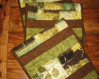 "Contemporary Table Runner, Green Gold Brown Leaves, Reversible Runner 13 x 66"" Handmade Free Shipping"