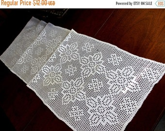Vintage Crocheted Table Runner or Table Scarf in White 12161