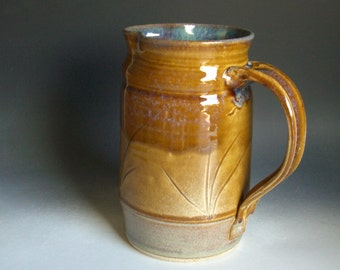 Hand thrown stoneware pottery pitcher    (P-50)