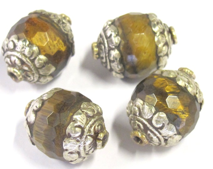 1 BEAD - Tibetan silver capped faceted Tigers eye gemstone bead 16 mm x 20 mm  - BD821