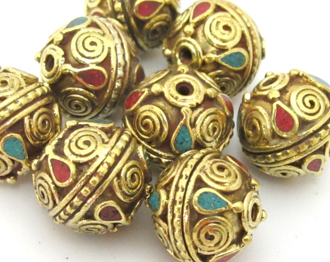 1 Bead - Tibetan brass bead with spiral design and turquoise coral inlay - BD908