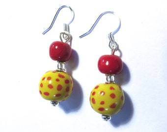 Kazuri Earrings, Yellow and Red Spotted Ceramic Earrings