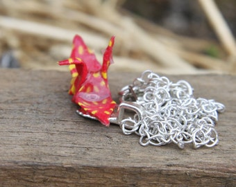 Origami Necklace - Red and Yellow Crane