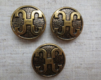 Vintage beautiful large brass tone oriental design metal shank button. Wholesale lot of 3.