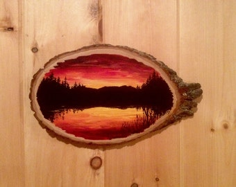 Original Painting - Sunset on a basswood round - 8.5 x 14.5