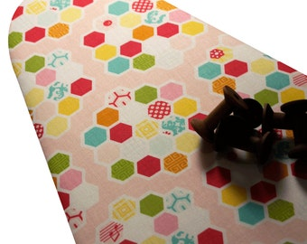 Ironing Board Cover custom sizes including brabantia, more ELASTIC around edges pick your size Riley Blake Simply Sweet pink bright hexagons