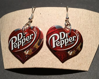 Dr. Pepper Earrings-Recycled Soda Can Earrings-made from recycled Dr. Pepper soda pop can
