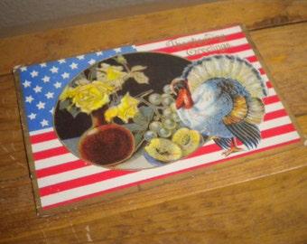 Vintage Postcard Patriotic Thanksgiving Turkey Flag Flowers and Fruit