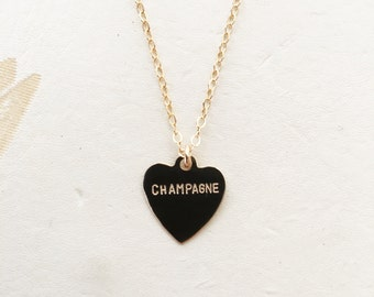 Champagne Heart Charm Necklace
