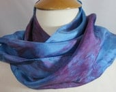 Scarf Silk Habotai Bright Blue and Purple
