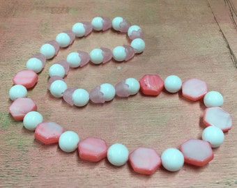 Pink Necklace - Pink Mother of Pearl and Vintage Tulip Beads - Vintage Recycled Beads - Photo Prop - Dress-up Necklace - R83