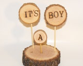 It's a Boy Baby Shower Cake topper or centerpiece ~ Rustic Tree Branch Cake topper ~ Woodland Baby Shower ~ Gender reveal cake topper