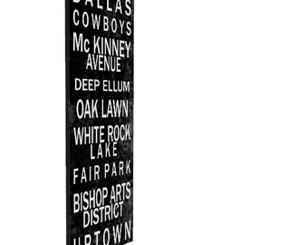Typography Canvas Print, 20x60, Personalized, Custom, Words on Canvas, Typography, Subway Sign, Canvas Print, Dallas, Texas