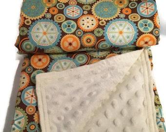 Baby Boy Blanket Cream brown minky blanket Mod Tod nfabric  gears