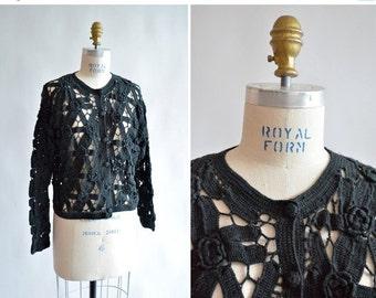 30% OFF STOREWIDE / Vintage 1990s black CROCHET cardigan