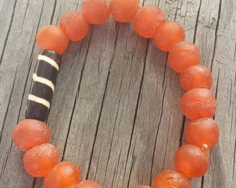 Sunburst Orange Batik Stretch Bracelet