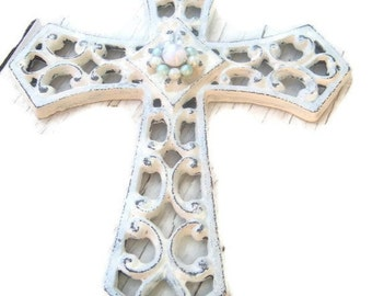 Metal Wall Cross Shabby upcycled Bling White Cross Religious Goth rustic wall decor