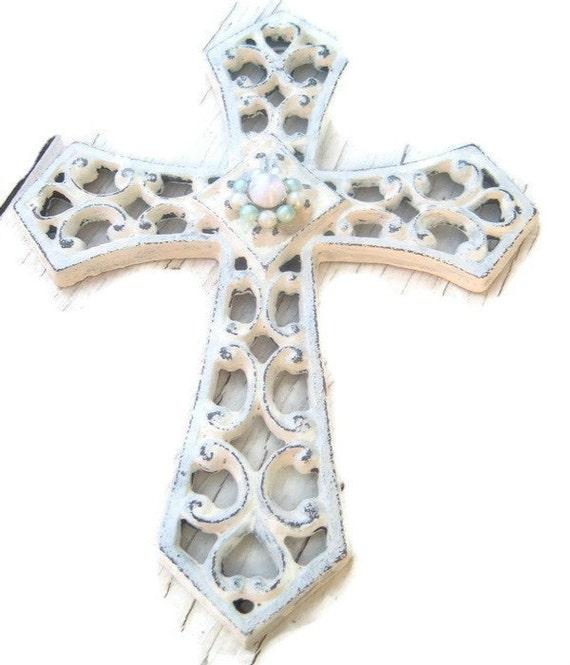 Metal Wall Cross Shabby Upcycled Bling White Cross Religious